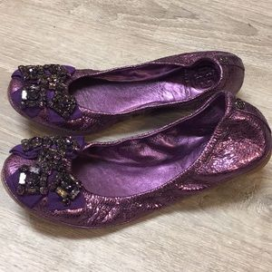 Tory Burch 8 Ballet Flats Purple Shimmer Bow Party